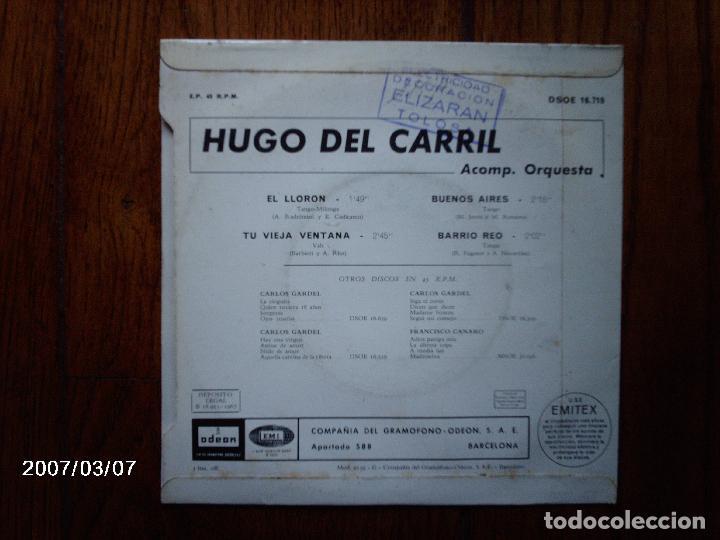 Discos de vinilo: hugo del carril - el llorón + 3 - Foto 2 - 68611509