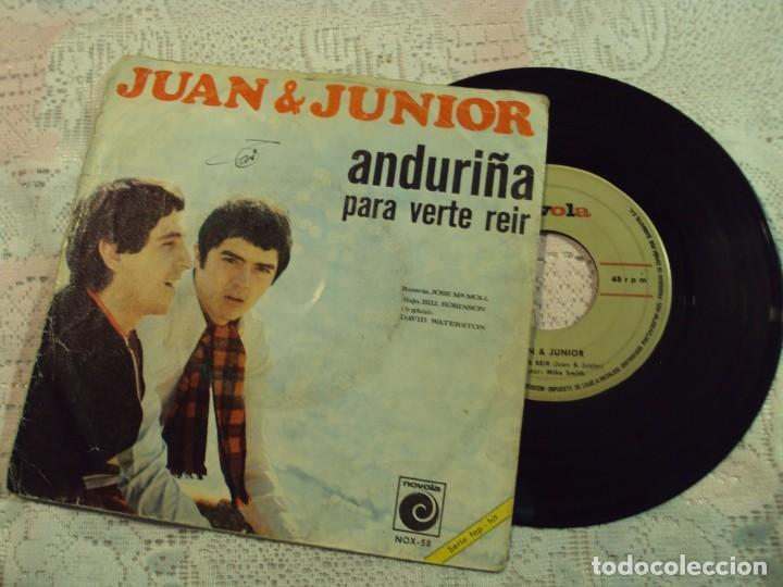 DISCO DE VINILO, CON CANCIONES DE LOS MEJORES AÑOS DE JUAN Y JUNIOR (Música - Discos - Singles Vinilo - Solistas Españoles de los 50 y 60)