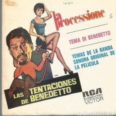 Discos de vinilo: BANDA SONORA DE LA PELICULA LAS TENTACIONES DE BENEDETTO SINGLE SELLO RCA VICTOR AÑO 1973 PROMOCION.. Lote 68698773