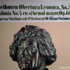 Discos de vinilo: BEETHOVEN OBERTURA LEONORA N3 SINFONIA N 4 EN SIBEMOL MAYOR OP 60. Lote 68717209
