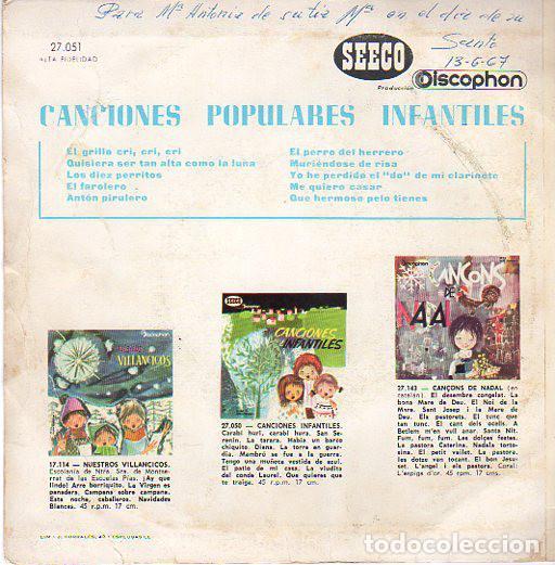Discos de vinilo: CANCIONES INFANTILES, CANCIONES POPULARES INFANTILES - EP SEECO DISCOPHON, 1966 - Foto 2 - 68749505