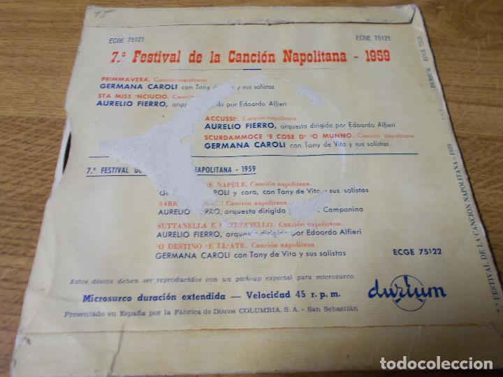 Discos de vinilo: 7º FESTIVAL DE LA CANCION NAPOLETANA, AURELIO FIERRO, GERMANA CAROLI. - Foto 2 - 68964849