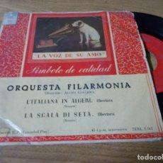 Discos de vinilo: ORQUESTA FILARMONICA. ALCEO GALLIERA. L´ITALIANA IN ALGERI. LA SCALA DI SETA.. Lote 68971701