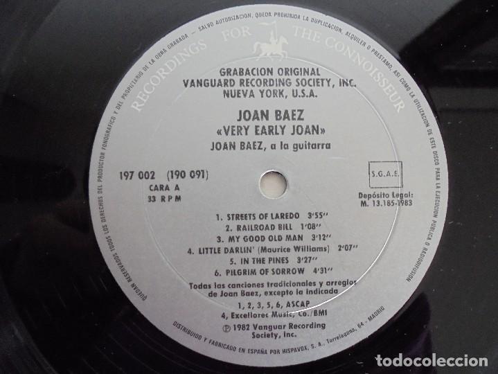 Discos de vinilo: VERY EARLY JOAN. JOAN BAEZ. HISPAVOX 1983. VER FOTOGRAFIAS ADJUNTAS. DOBLE LP. - Foto 9 - 69005101