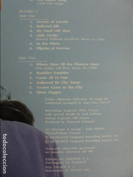 Discos de vinilo: VERY EARLY JOAN. JOAN BAEZ. HISPAVOX 1983. VER FOTOGRAFIAS ADJUNTAS. DOBLE LP. - Foto 13 - 69005101