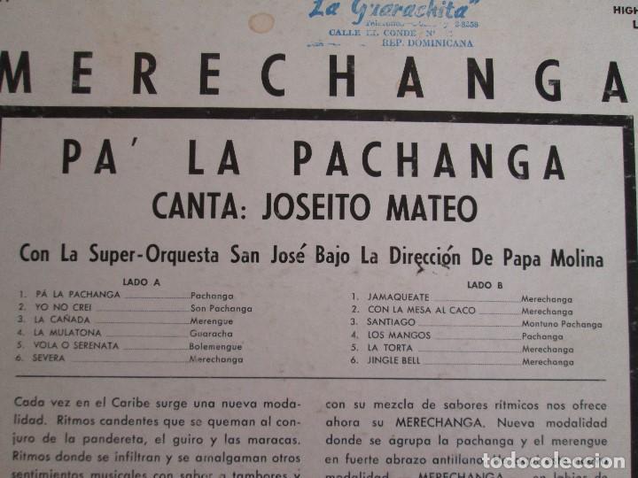 Discos de vinilo: MERECHANGA PA LA PACHANGA. JOSEITO MATEO CON LA SUPER ORQUESTA SAN JOSE - Foto 7 - 69008257