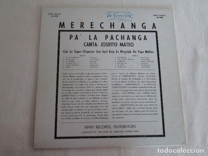 Discos de vinilo: MERECHANGA PA LA PACHANGA. JOSEITO MATEO CON LA SUPER ORQUESTA SAN JOSE - Foto 8 - 69008257