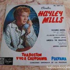 Discos de vinilo: HAYLEY MILLS – CANTA HAYLEY MILLS - EP DE LA PELICULA TU A BOSTON Y YO A CALIFORNIA -. Lote 69029609