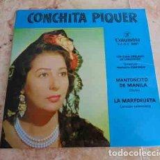 Disques de vinyle: CONCHITA PIQUER - MANTONCITO DE MANILA / LA MAREDEUETA - SINGLE. Lote 69062833