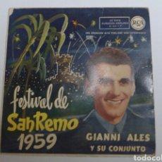 Discos de vinilo: DISCO SINGLE FESTIVAL DE SAN REMO 1959 GIANI ALES Y SU CONJUNTO. Lote 69271681
