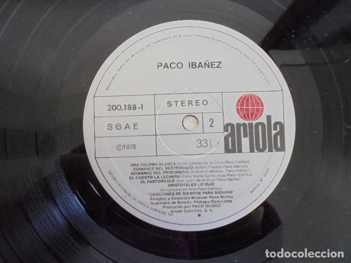 Discos de vinilo: PACO IBAÑEZ. A FLOR DE TIEMPO. ARIOLA-EURODISC 1979. VER FOTOGRAFIAS ADJUNTAS. - Foto 6 - 69273633