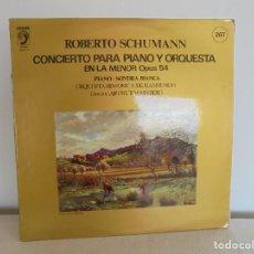 Discos de vinilo: ROBERTO SCHUMANN. CONCIERTO PARA PIANO Y ORQUESTA EN LA MENOR OPUS 54. VER FOTOGRAFIAS ADJUNTAS.. Lote 69278641