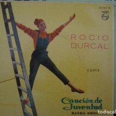 Discos de vinilo: ROCIO DURCAL, EP 1962 , VINILO DE COLOR, CANCION DE JUVENTUD BANDA ORIGINAL DE LA PELICULA.. Lote 69290657