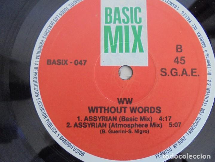 Discos de vinilo: WITHOUT WORDS. ASSYRIAN. BASIC MIX.1991. VER FOTOGRAFIAS ADJUNTAS - Foto 6 - 69417977