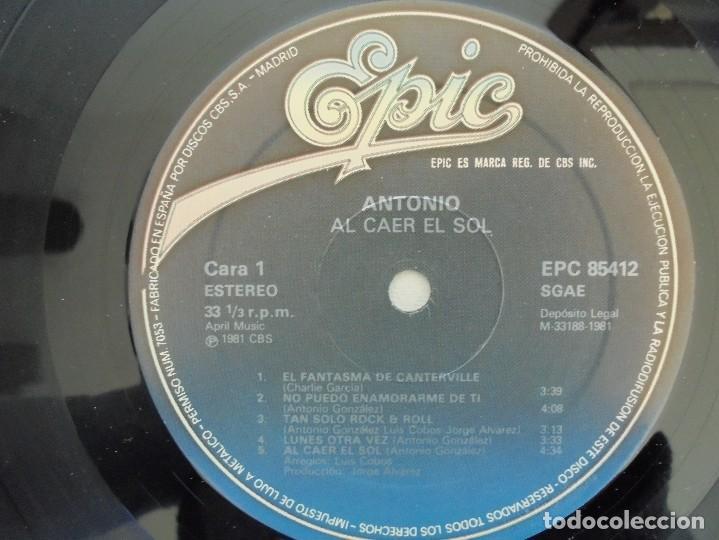 Discos de vinilo: ANTONIO FLORES. AL CAER EL SOL. EPIC 1981. VER FOTOGRAFIAS ADJUNTAS. - Foto 5 - 69513585
