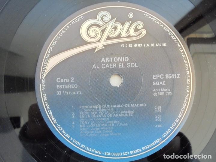 Discos de vinilo: ANTONIO FLORES. AL CAER EL SOL. EPIC 1981. VER FOTOGRAFIAS ADJUNTAS. - Foto 7 - 69513585