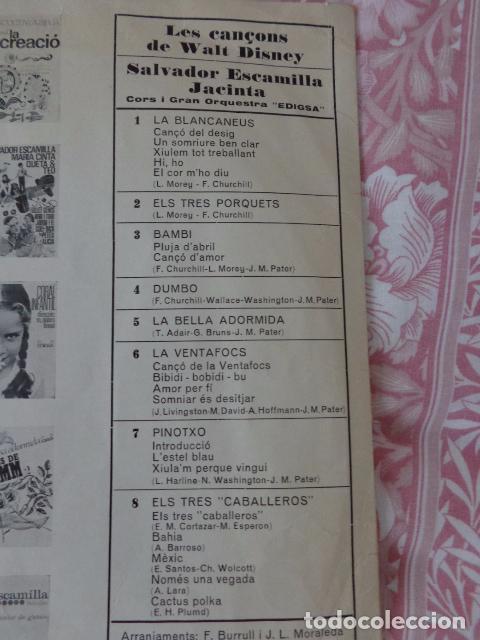 Discos de vinilo: Les Cançons de Walt Disney - Salvador Escamilla i Jacinta - Edigsa CI 23L - 1968 - Foto 4 - 69616957