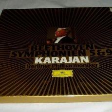 Discos de vinilo: BEETOVEN SYMPHONIEN 5 & 9,DOBLE LP KARAJAN BERLINER FILHARMONIQUER. Lote 69935881