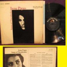Discos de vinilo: IRENE PAPAS - SONGS OF MIKIS THEODORAKIS 1968 - RARO 1º LP !! ORG EDT USA 1968 RCA, EX. Lote 69968977