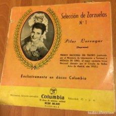Discos de vinilo: EP PILAR LORENGAR SELECCIÓN DE ZARZUELAS 1. Lote 70052157