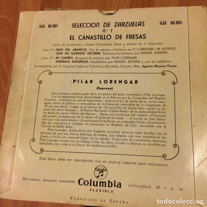 Discos de vinilo: Ep pilar lorengar selección de zarzuelas 1 - Foto 2 - 70052157