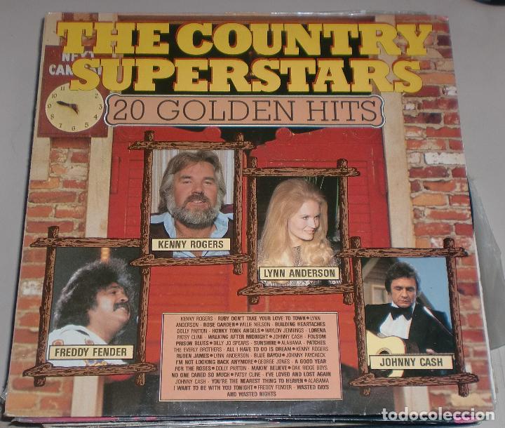 LP. THE COUNTRY SUPERSTARS. 20 GOLDEN HITS. FREDDY FENDER, KENNY ROGERS, LYNN ANDERSON, JOHNNY CASH. (Música - Discos - LP Vinilo - Country y Folk)
