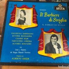 Discos de vinilo: IL BARBIERE DI SIVIGLIA. EL BARBERO DE SEVILLA.ROSSINI.GIULIETTA SIMIONATO. DECCA LXT 5283/85. 3LPS. Lote 70173197