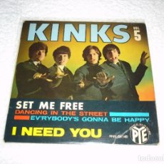 Discos de vinilo: KINKS: SET ME FREE +3 - EP. PYE 1965 (MADE IN FRANCE). Lote 74758198