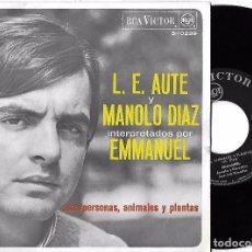 Discos de vinilo: EMMANUEL: L.E. AUTE Y MANOLO DÍAZ INTERPRETADOS POR EMMANUEL: AMA / PERSONAS, ANIMALES Y PLANTAS. Lote 70278413