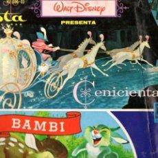 Discos de vinilo: WALT DISNEY : BAMBI / CENICIENTA - VISTA RECORDS, 1966. Lote 70377533