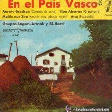 Discos de vinilo: EN EL PAIS VASCO - GRUPOS LAGUN-ARTEAK Y BI-HARI - EP ZAFIRO - 1962 . Lote 70426345