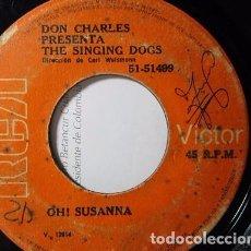 Discos de vinilo: DON CHARLES PRESENTA THE SINGING DOGS OH SUSANNA / JINGLE BELLS SINGLE SENCILLO S28 G. Lote 71064937