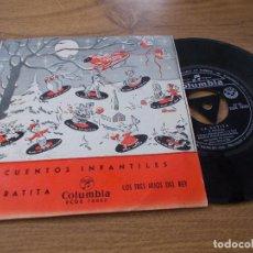 Discos de vinilo: CUENTOS INFANTILES. LA RATITA, LOS TRES HIJOS DEL REY.. Lote 71111301