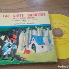 Discos de vinilo: LAS SIETE CABRITAS - 15 DIAPOSITIVAS EN COLOR CON NARRACIÓN SONORA - SINGLE FORMATO FLEXI-DISC -1968. Lote 71111453