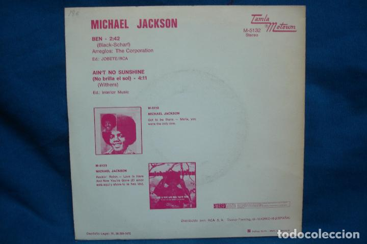 Discos de vinilo: - MICHAEL JACKSON - BEN/ AIN´T NO SUNSHINE - TAMLA MOTOUM 1972 - Foto 2 - 71463079