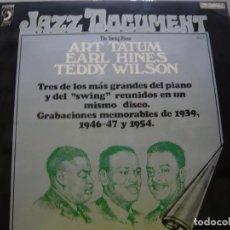 Discos de vinilo: ART TATUM. EARL HINES. TEDDY WILSON. THE SWING PIANO. DISCOPHON (S) 4174 LP 1974 SPAIN . Lote 71554871