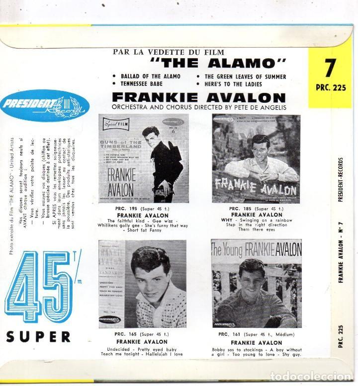 Discos de vinilo: FRANKIE AVALON - THE ALAMO, EP, BALLAD OF THE ALAMO + 3, AÑO 19?? MADE IN FRANCE - Foto 2 - 71583263