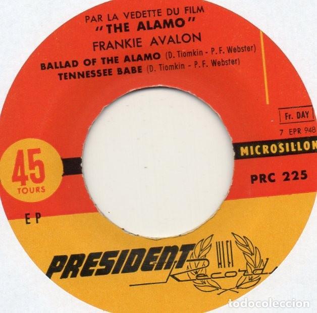 Discos de vinilo: FRANKIE AVALON - THE ALAMO, EP, BALLAD OF THE ALAMO + 3, AÑO 19?? MADE IN FRANCE - Foto 3 - 71583263