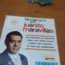 Discos de vinilo: FANDANGOS POR JUANITO MARAVILLAS. QUE PRESUMIA DE GRANDEZA. MB3. Lote 71641163