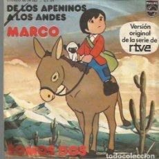 Discos de vinil: MARCO SINGLE SELLO PHILIIPS EDITADO EN ESPAÑA AÑO 1976 DE LA SERIE DE TV. DE LOS APENINOS A LOS ANDE. Lote 71644671