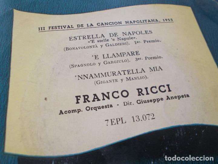 Discos de vinilo: FRANCO RICCI. III FESTIVAL DE LA CANCION NAPOLITANA 1955, ESTRELLA DE NAPOLES, E LLAMPARE. - Foto 2 - 71711415