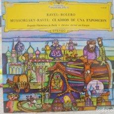 Discos de vinilo: LP.BOLERO DE RAVEL,CUADROS DE UNA EXPOSICION. FILARMONICA DE BERLIN, DIRECTOR: HERBERT VON KARAJAN. Lote 71857587