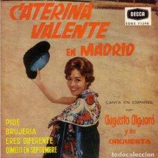 Discos de vinilo: CATERINA VALENTE EN MADRID, CANTA EN ESPAÑOL CON AUGUSTO ALGUERÓ Y SU ORQ– PIDE + 3 TEMAS - EP 1960. Lote 287837218