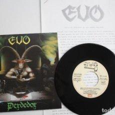 Discos de vinilo: EVO- PERDEDOR- SINGLE PROMO 1985+ HOJA PROMO RADIO- COMO NUEVO. IMPECABLE.. Lote 72212715