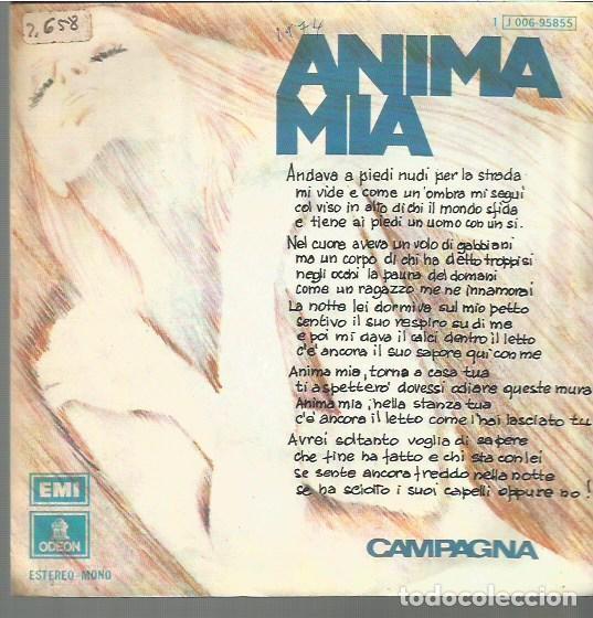 CAMPAGNA SINGLE SELLO EMI-ODEON AÑO 1974 EDITADO EN ESPAÑA (Música - Discos - Singles Vinilo - Pop - Rock - Extranjero de los 70)