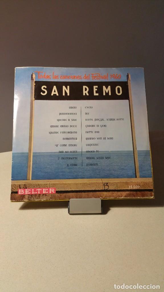 TODAS LAS CANCIONES DEL FESTIVAL 1960 SAN REMO LP (Música - Discos - LP Vinilo - Canción Francesa e Italiana)