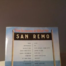 Disques de vinyle: TODAS LAS CANCIONES DEL FESTIVAL 1960 SAN REMO LP . Lote 72363951