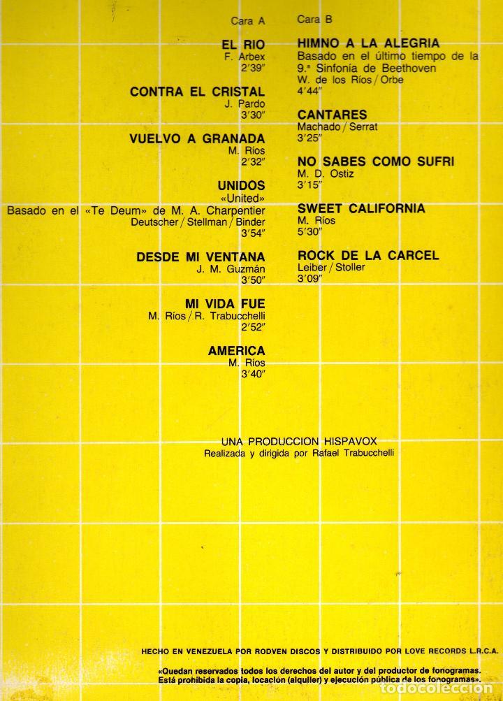 Discos de vinilo: MIGUEL RIOS - GRANDES CANCIONES - LP VINILO 12'' - Editado en VENEZUELA - HISPAVOX / RODVEN - 1984 - Foto 3 - 71651619