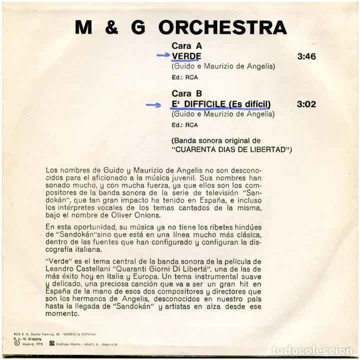 Discos de vinilo: Guido, Maurizio De Angelis – Verde, BSO Cuarenta Dias De Libertad - Sg Promo Spain 1976 - RCA Victor - Foto 2 - 72748351