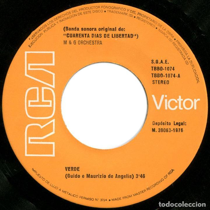 Discos de vinilo: Guido, Maurizio De Angelis – Verde, BSO Cuarenta Dias De Libertad - Sg Promo Spain 1976 - RCA Victor - Foto 3 - 72748351